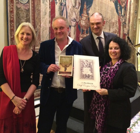 From left to right: Artemis Cooper, Patrick McGuinness with his winning book, Laurent d'Harcourt of Champagne Pol Roger, and the French Ambassador, H.E. Mme Sylvie Bermann.
